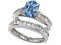 Original Star K™ 8x6mm Oval Simulated Aquamarine Wedding Set