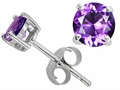 Original Star K Classic Round 6mm Genuine Amethyst Earring Studs