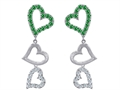 Original Star K™ Dangling Heart with Simulated Emerald Heart Earrings
