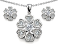 Original Star K™ Cubic Zirconia Flower Pendant With Matching Earrings