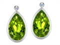 Original Star K Pear Shape Genuine Peridot Earring Studs With High Post On Back