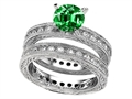 Star K™ 7mm Round Simulated Emerald Eternity Wedding Set