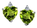 Original Star K™ 7mm Heart Shape Genuine Peridot Earrings