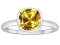 Tommaso Design™ 7mm Cushion Cut Genuine Citrine Engagement Solitaire Ring