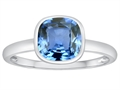Tommaso Design™ 7mm Cushion Cut Simulated Aquamarine Engagement Solitaire Ring