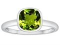 Tommaso Design 7mm Cushion Cut Genuine Peridot Engagement Solitaire Ring