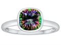 Tommaso Design™ 7mm Cushion Cut Rainbow Mystic Topaz Engagement Solitaire Ring