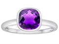 Tommaso Design 7mm Cushion Cut Genuine Amethyst Engagement Solitaire Ring