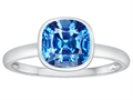 Tommaso Design 7mm Cushion Cut Genuine Blue Topaz Engagement Solitaire Ring