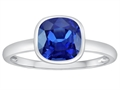 Tommaso Design 7mm Cushion Cut Created Sapphire Engagement Solitaire Ring