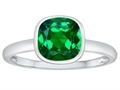 Tommaso Design 7mm Cushion Cut Simulated Emerald Engagement Solitaire Ring