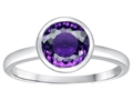 Tommaso Design™ 7mm Round Genuine Amethyst Engagement Solitaire Ring