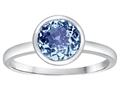 Tommaso Design 7mm Round Simulated Aquamarine Engagement Solitaire Ring