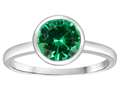 Tommaso Design 7mm Round Simulated Emerald Engagement Solitaire Ring