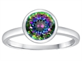 Tommaso Design 7mm Round Rainbow Mystic Topaz Engagement Solitaire Ring