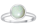 Tommaso Design 7mm Round Genuine Opal Engagement Solitaire Ring