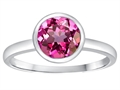 Tommaso Design 7mm Round Created Pink Sapphire Engagement Solitaire Ring