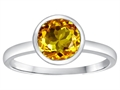 Tommaso Design™ 7mm Round Genuine Citrine Engagement Solitaire Ring