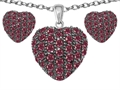Star K™ Created Ruby Puffed Heart Love Pendant with matching earrings
