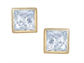 Tommaso Design Square Small Genuine Aquamarine Earrings