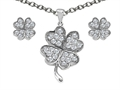 Celtic Love by Kelly ™ Cubic Zirconia Lucky Clover Pendant with matching earrings