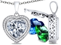 Switch-It Gems Heart Shape 10mm Simulated Diamond Pendant with 12 Interchangeable Simulated Birthstones