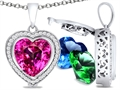 Switch-It Gems™ Heart Shape 10mm Simulated Pink Tourmaline Pendant with 12 Interchangeable Simulated Birth Months