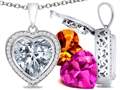 Switch-It Gems Heart Shape 12mm Simulated Diamond Pendant with 12 Interchangeable Simulated Birthstones