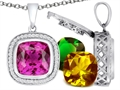 Switch-It Gems Cushion Cut 12mm Simulated Pink Tourmaline Pendant with 12 Interchangeable Simulated Birthstones