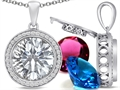 Switch-It Gems Interchangeable Simulated Diamond Pendant Set with 12 Round 12mm Birthstones Included