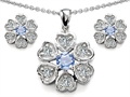 Original Star K™ Simulated Aquamarine Flower Pendant With Matching Earrings