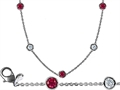 Original Star K 32 Inch Gems By The Yard Necklace With Cubic Zirconia And Created Ruby