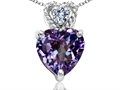Tommaso Design 8mm Heart Shape Simulated Alexandrite and Diamond Pendant