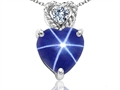 Tommaso Design 8mm Heart Shape Created Star Sapphire and Diamond Pendant