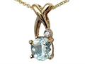 Tommaso Design™ X Shape Pendant with Diamond and Checkerboard Cut Genuine Aquamarine