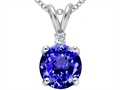 Tommaso Design Round Genuine Tanzanite and Diamond Pendant