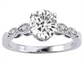 Tommaso Design™ Round 7mm Genuine White Topaz and Diamonds Solitaire Engagement Ring