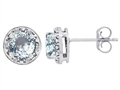 Tommaso Design 6mm Round Genuine Aquamarine and Diamonds earring Studs