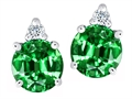 Tommaso Design Round Simulated Emerald And Genuine Diamond Earring Studs