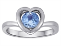 Original Star K Heart Engagement Promise of Love Ring with 7mm Round Simulated Aquamarine