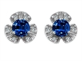 Original Star K Flower Earrings With Round 5mm Created Sapphire