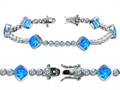 Original Star K™ High End Tennis Bracelet With 6pcs 7mm Cushion Cut Simulated Blue Opal