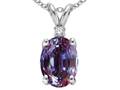 Tommaso Design™ Oval Simulated Alexandrite And Genuine Diamond Pendant