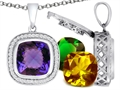 Switch-It Gems Interchangeable Simulated Alexandrite Pendant Set with 12 Cushion Cut 12mm Birthstones Included