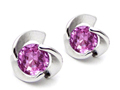 Original Star K Round Created Pink Sapphire Flower Earring Studs