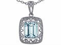 Tommaso Design™ Emerald Cut Simulated Aquamarine Pendant