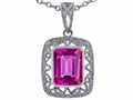 Tommaso Design Emerald Cut Created Pink Sapphire Pendant