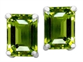 Original Star K™ 8x6mm Emerald Cut Simulated Green Tourmaline Earrings