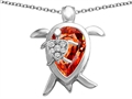 Original Star K™ Large Mother and Baby Turtle family Pendant with 12x8mm Pear Shape Simulated Mexican Fire Opal