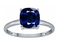 Tommaso Design Created Sapphire 7mm Cushion Cut Solitaire Engagement Ring
